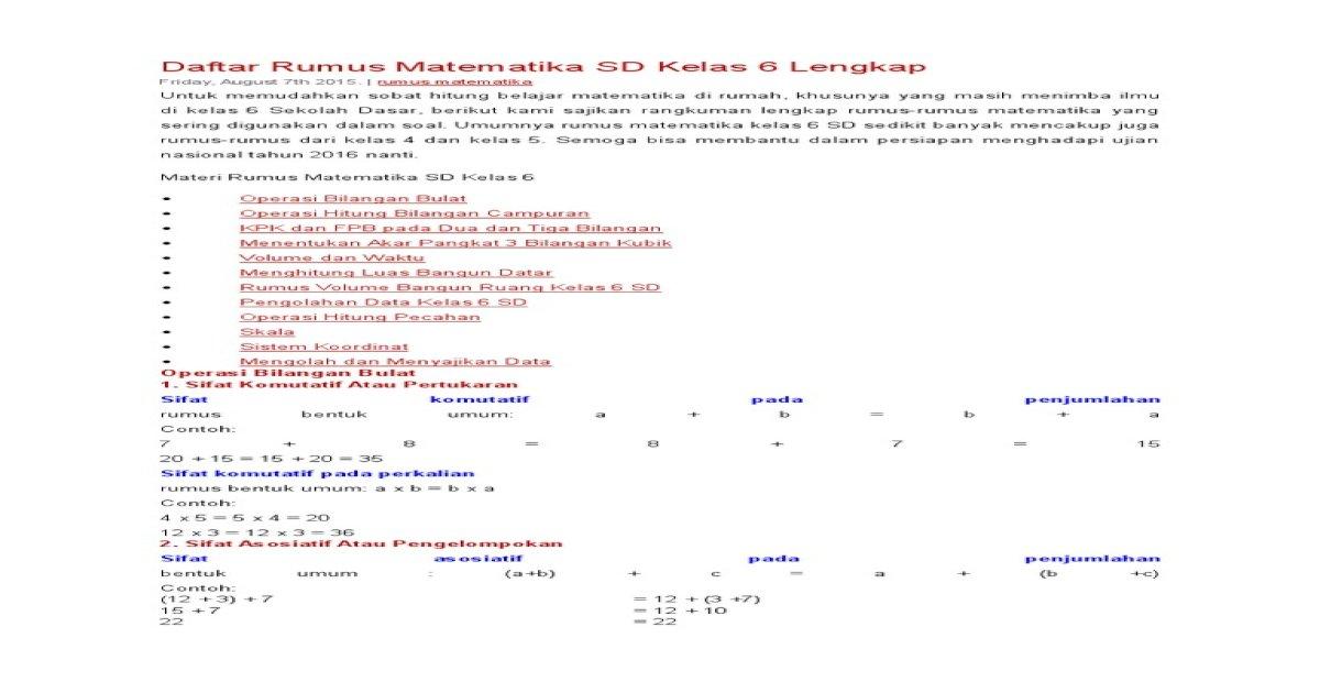Daftar Rumus Matematika Sd Kelas 6 Lengkap Download Pdf