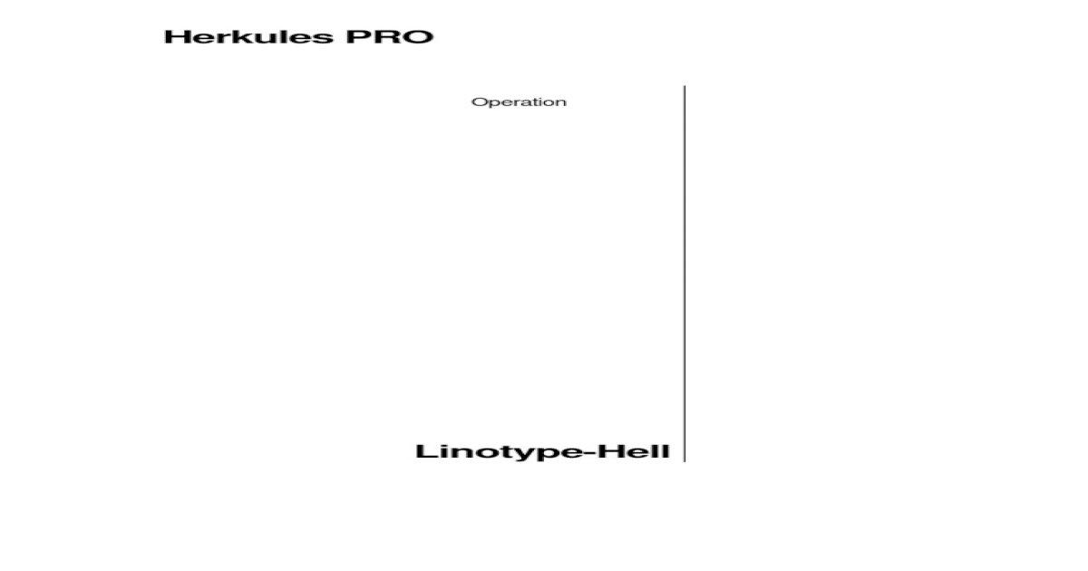 Heidelberg Herkules Pro Manual