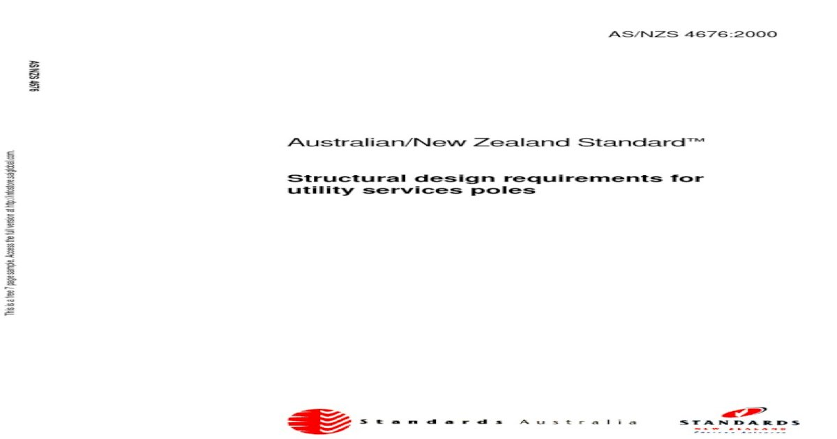 As NZS 4676-2000 Structural Design Requirements for Utility