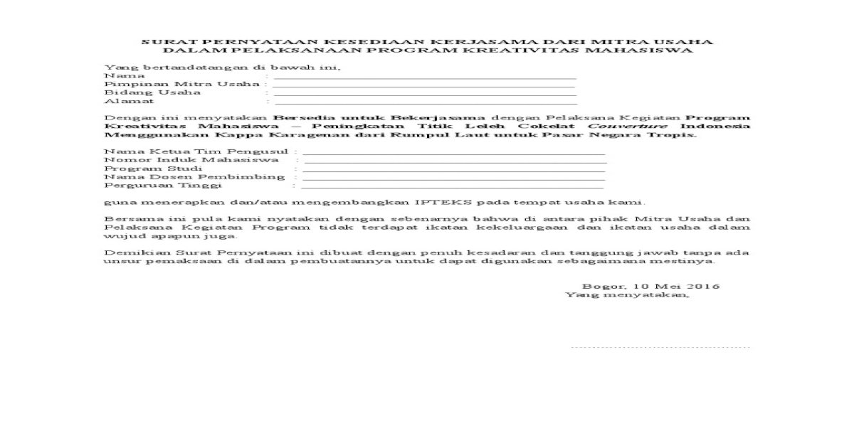 Contoh Surat Pernyataan Kesediaan Kerjasama Dari Mitra Usaha