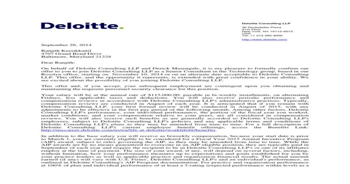 Ranjith Keerikkattil Deloitte Offer Letter