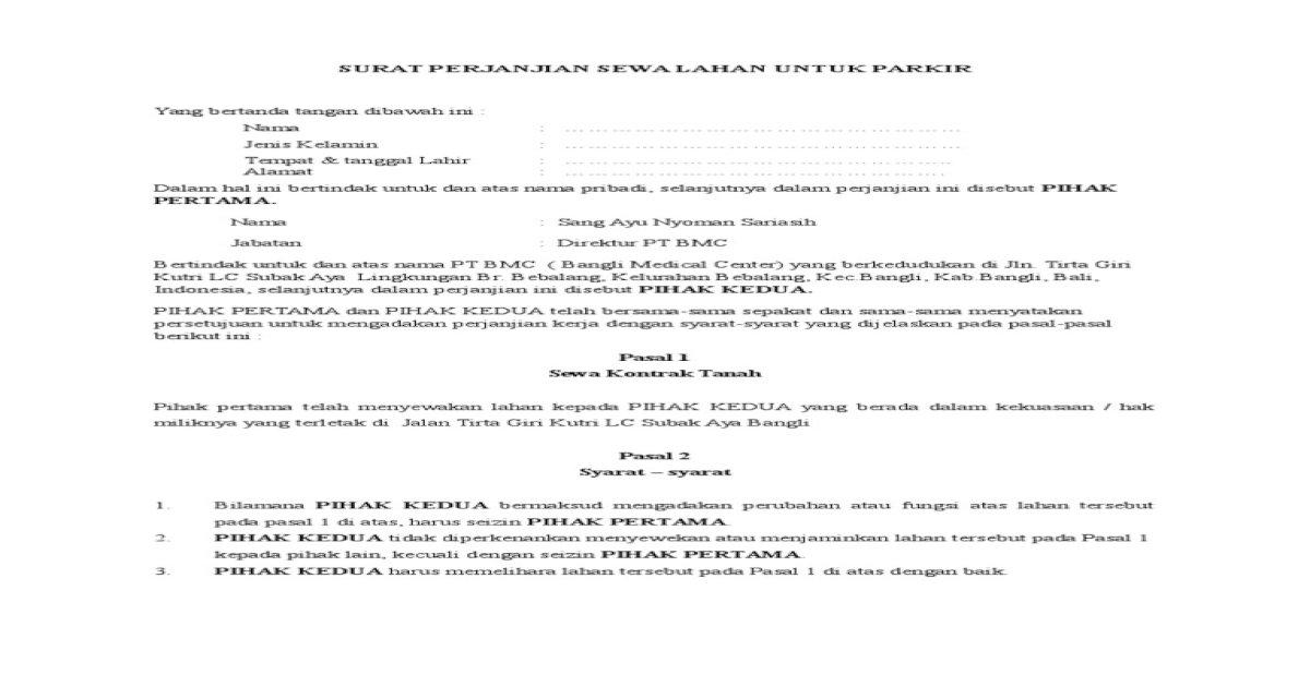 Contoh Surat Perjanjian Sewa Tanah Doc Contoh Seputar Surat