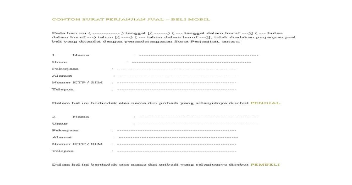 Contoh Surat Perjanjian Jual Beli Mobil