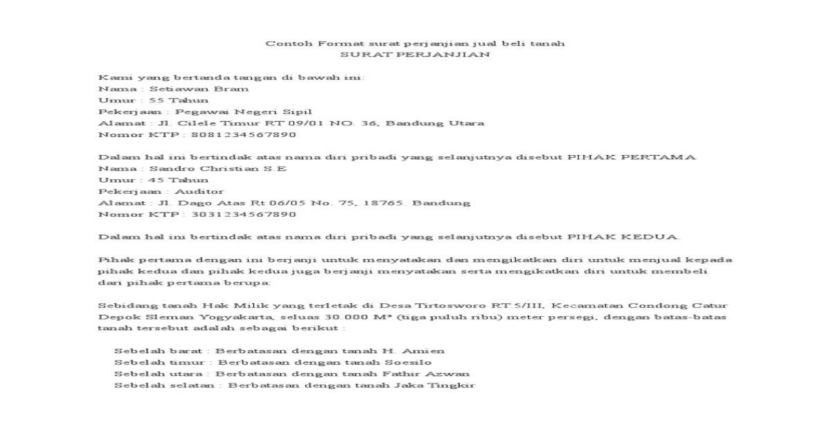 Contoh Format Surat Perjanjian Jual Beli Tanah1