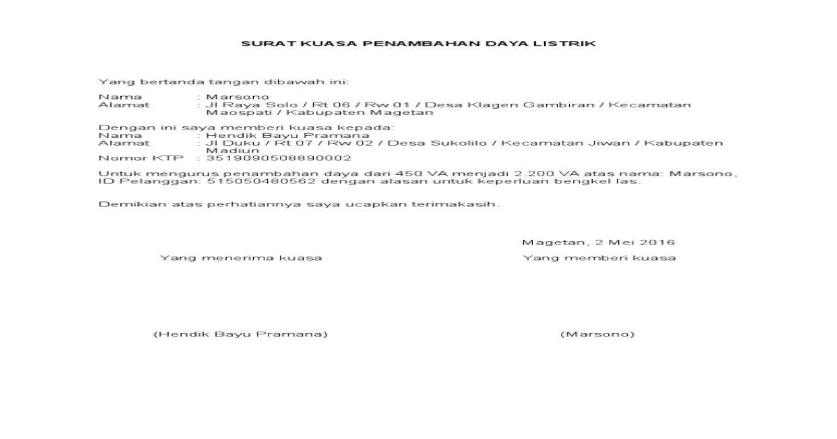 surat kuasa penambahan daya listrik pln