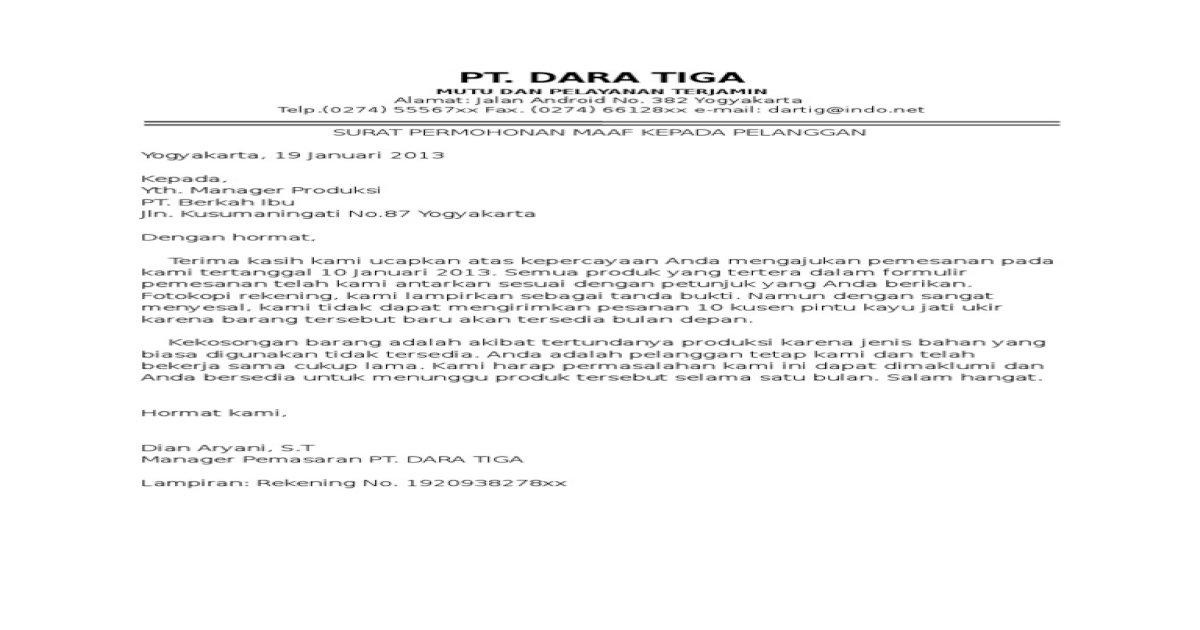 Contoh Surat Permohonan Maaf Kepada Pelanggan