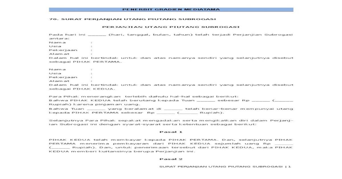 70 Surat Perjanjian Utang Piutang Subrogasi