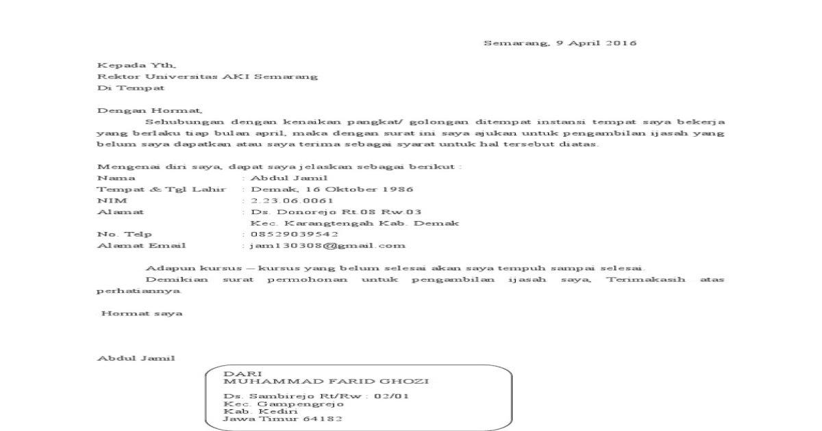 Surat Permohonan Pengambilan Ijazah