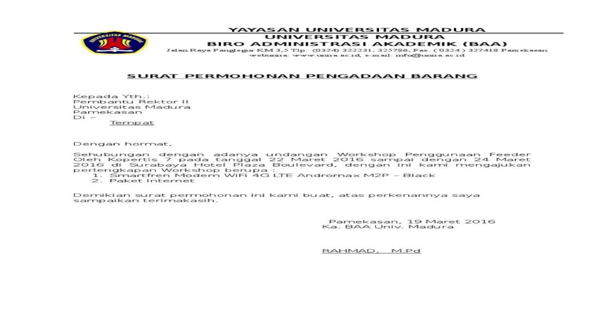 Surat Permohonan Pengadaan Barangdoc