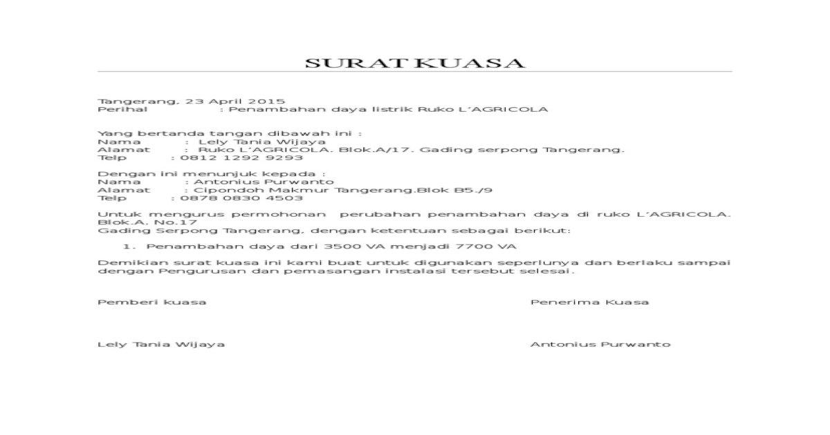 contoh surat kuasa pemasangan instalasi listrik