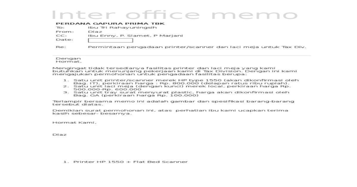 Contoh Surat Permintaan Pengadaan Printer
