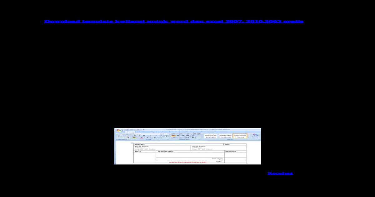 Download Template Kwitansi Untuk Word Dan Excel 2007