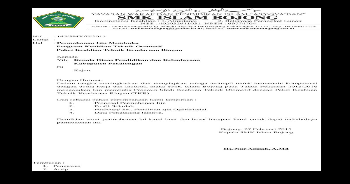 Proposal Ijin Membuka Jurusan Tkr