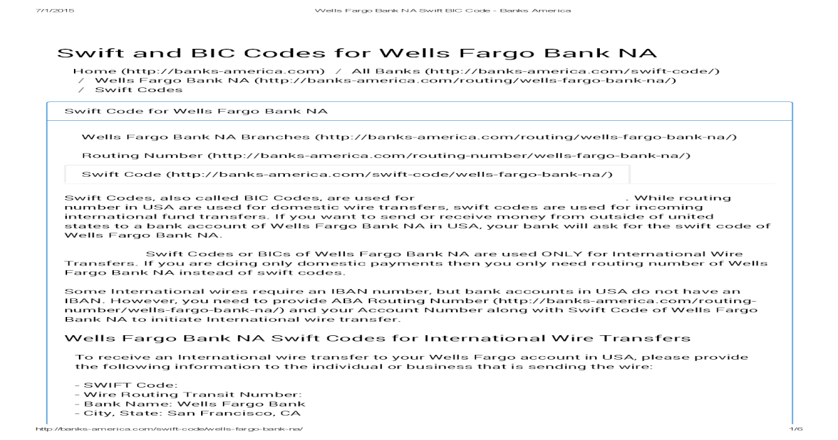 Wells Fargo Bank NA Swift BIC Code - Banks America on