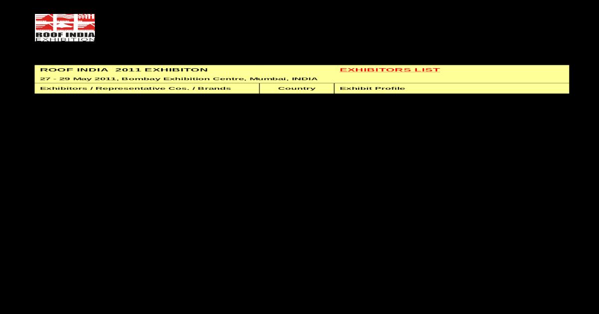 Roof India 2011 - Exhibitors List