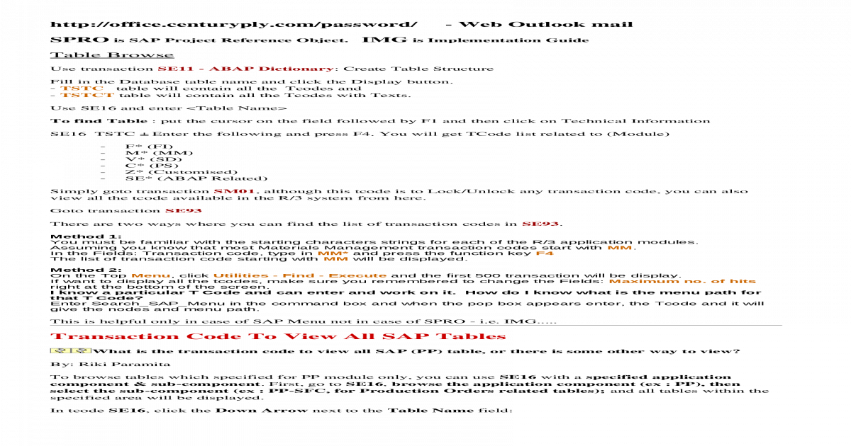 Fast Track - SAP shortcuts