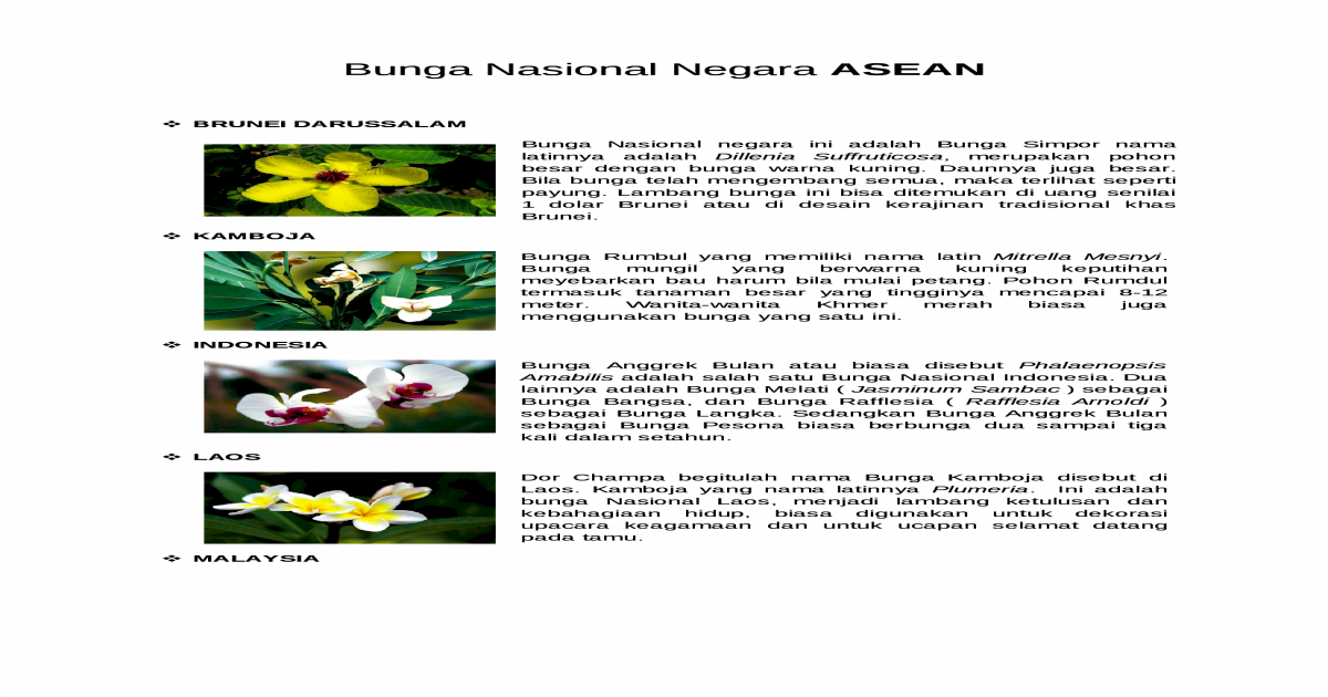 93 Gambar Bunga Nasional Negara Asean Paling Bagus Gambar Bunga