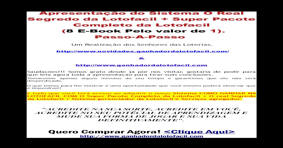descobri o segredo da lotofacil