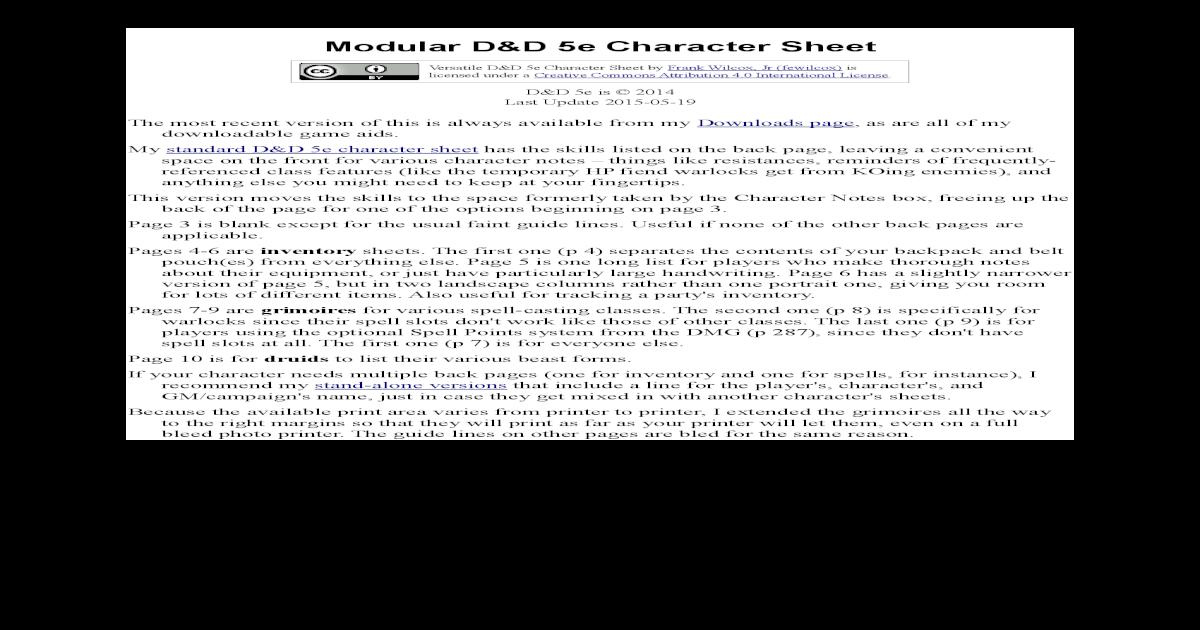 Modular D&D 5e Character Sheet
