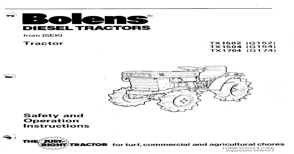 Iseki Bolens TX2140 2160 Owners Manual