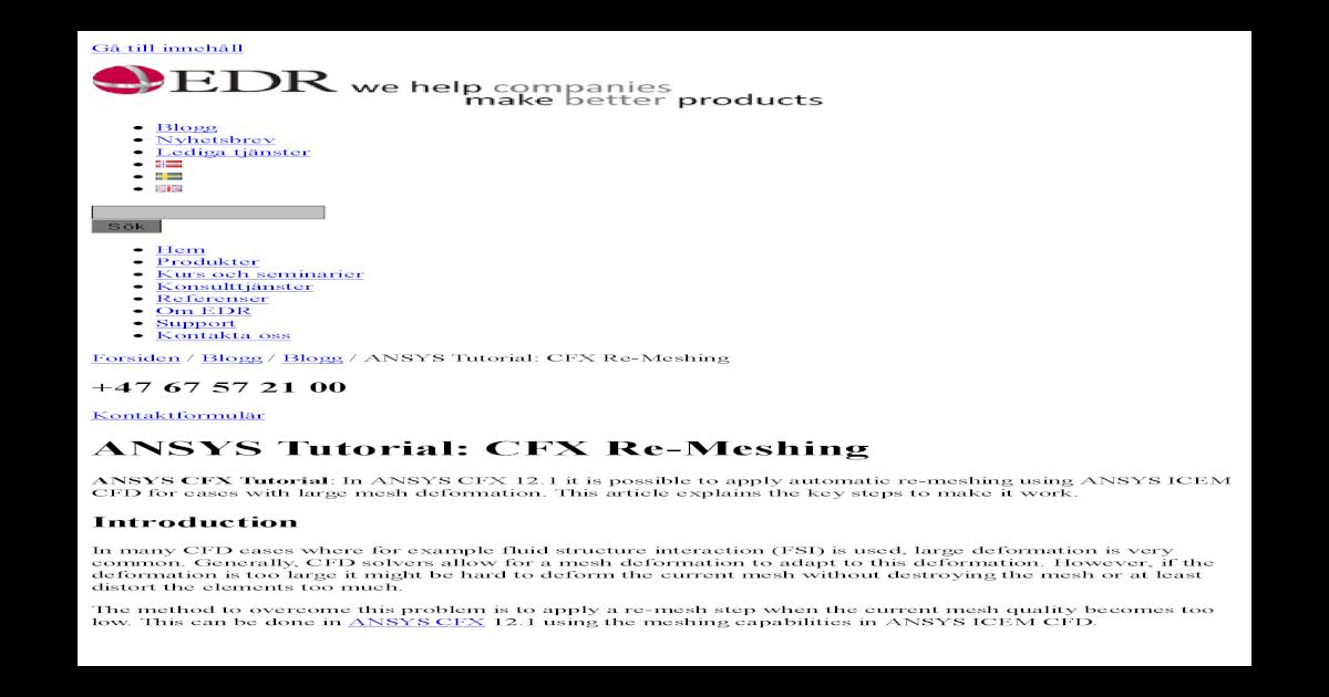 ANSYS Tutorial CFX Re-Meshing - EDR