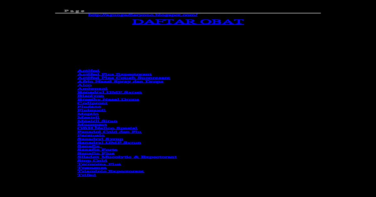 Daftar Obat Praktik Klinik Pribadi