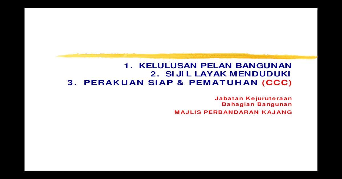 Definition Of Ccc Pelan Bangunan Mpkj