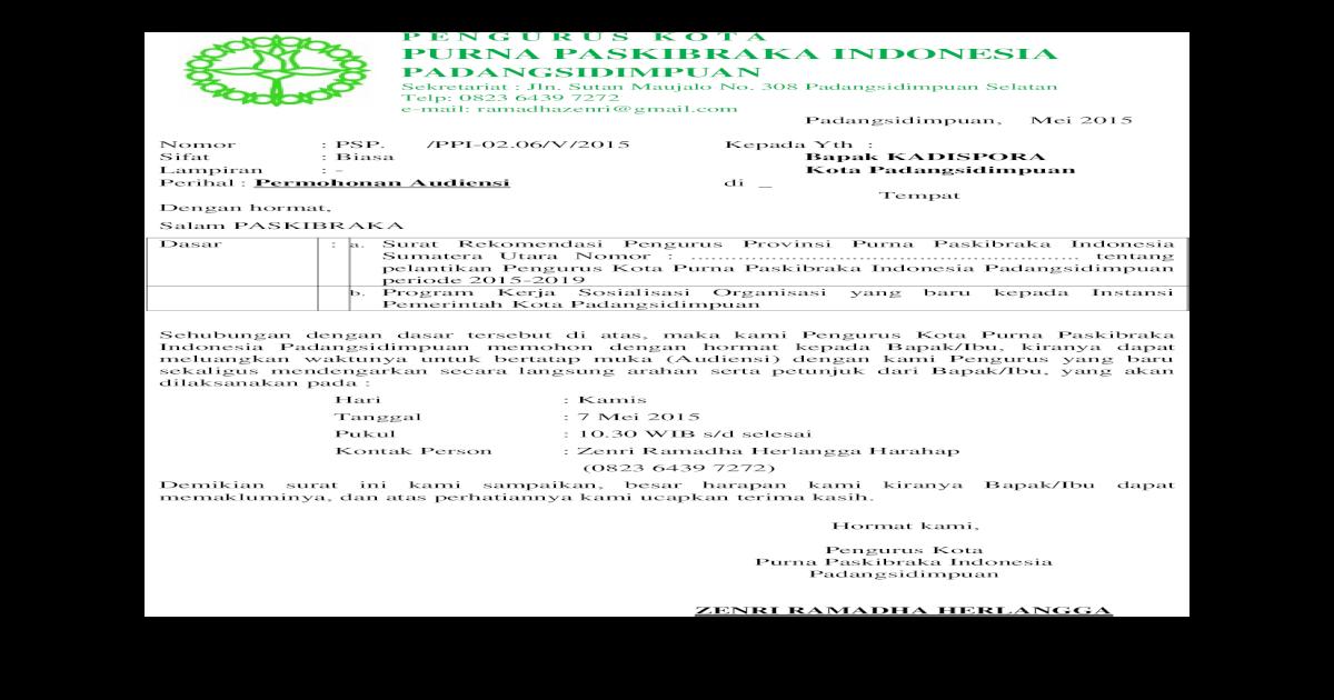Contoh Surat Audiensi Pasid Ppi