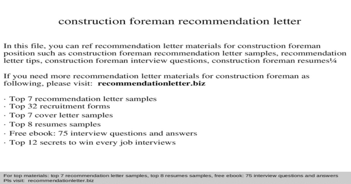 Construction Foreman Recommendation Letter