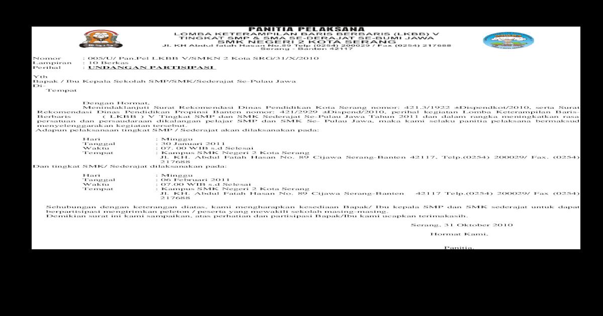 Surat Undangan Lkbb 5 Krasa