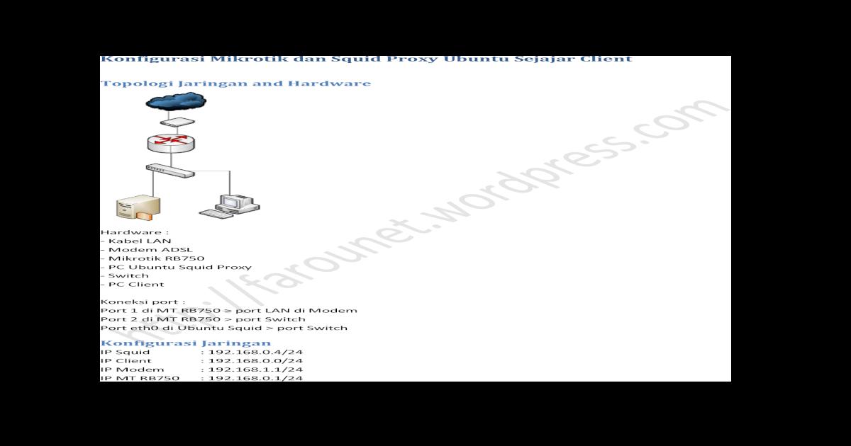 Konfigurasi Mikrotik dan Squid Proxy Ubuntu Sejajar Client