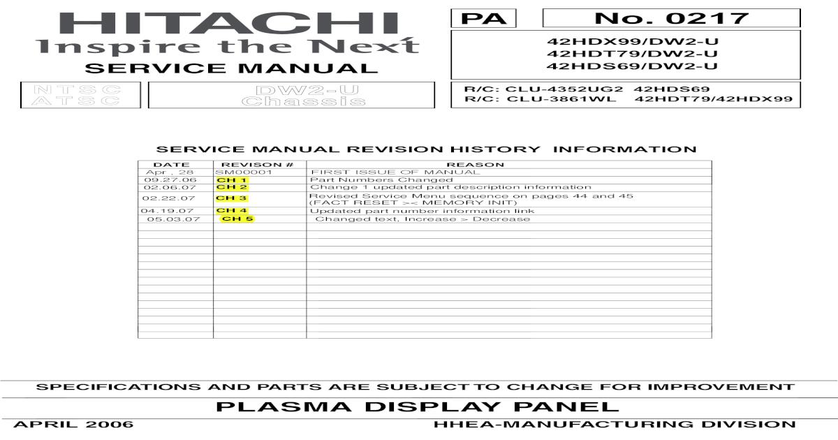 Hitachi 42HDT79 Service Manual on