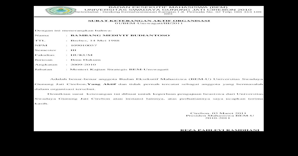 Surat Keterangan Aktif Organisasi Bem U