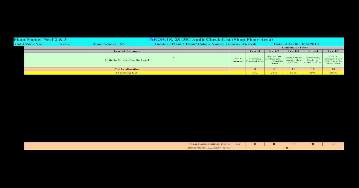 1s,2s & 5S Audit Sheet (2)