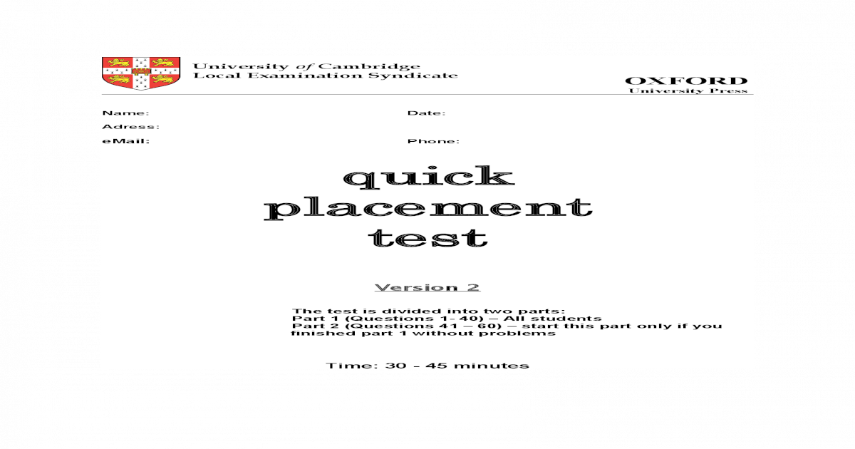 Quick Placement Test 2