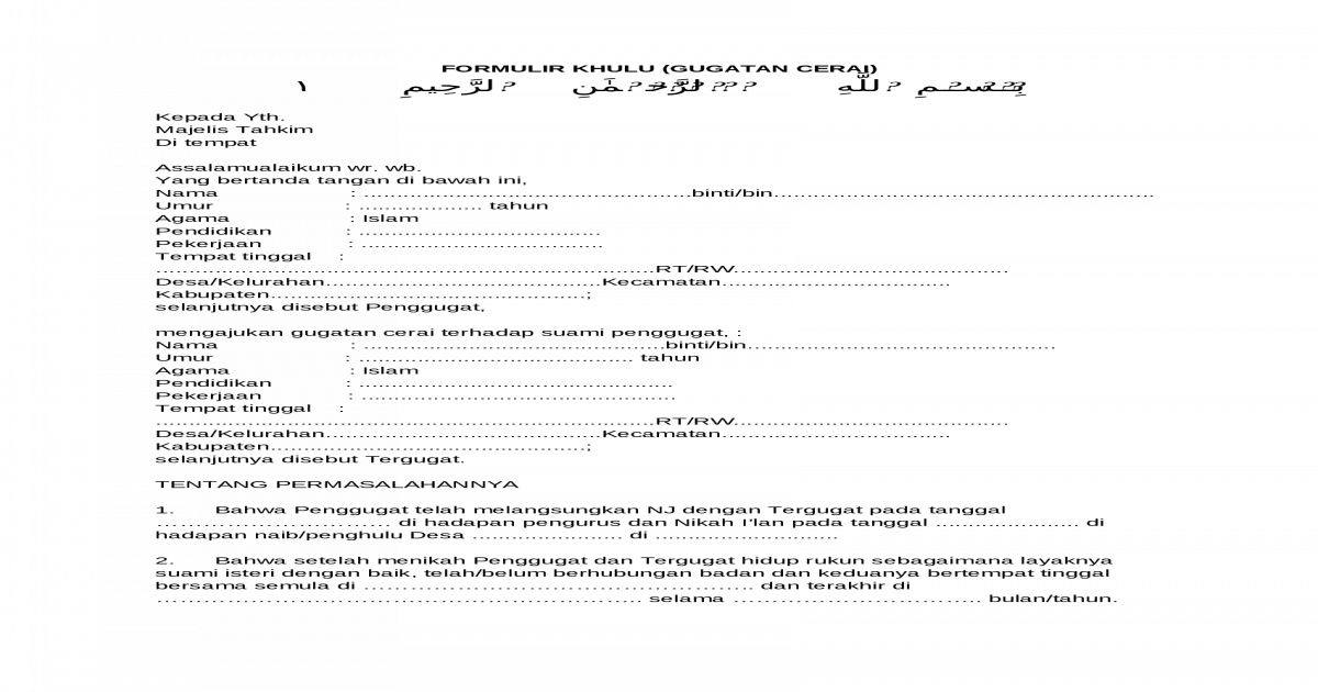 Formulis Surat Khulu Gugatan Cerai