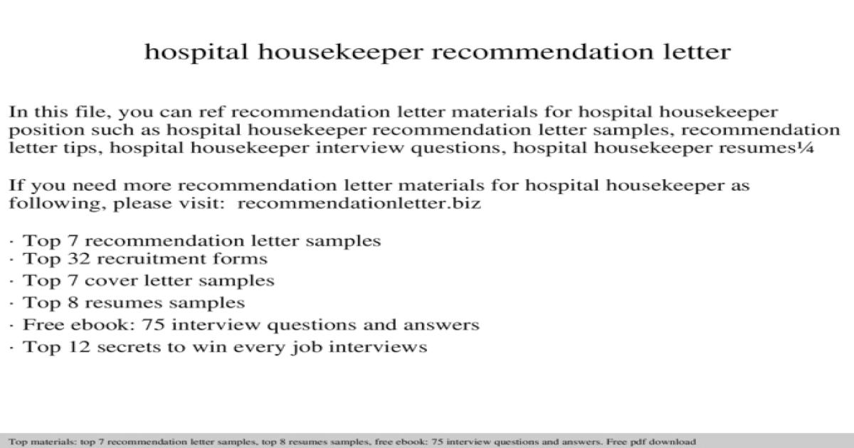 Hospital housekeeper recommendation letter