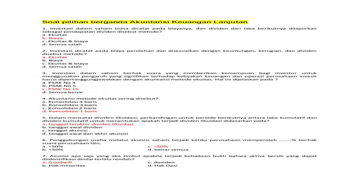 Contoh Soal Akuntansi Keuangan Lanjutan 2 Contoh Soal Terbaru