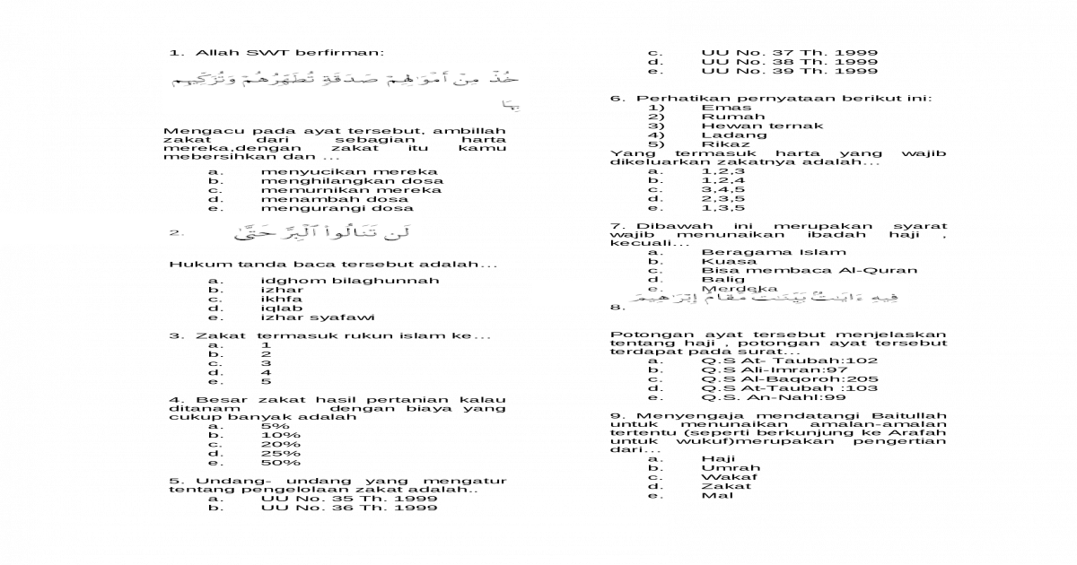 Contoh Soal Hots Zakat Kumpulan Materi Pelajaran Dan Contoh Soal 3