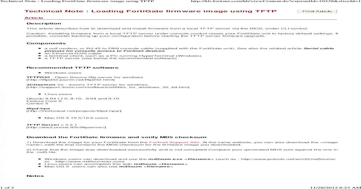 Technical Note _ Loading FortiGate firmware image using TFTP