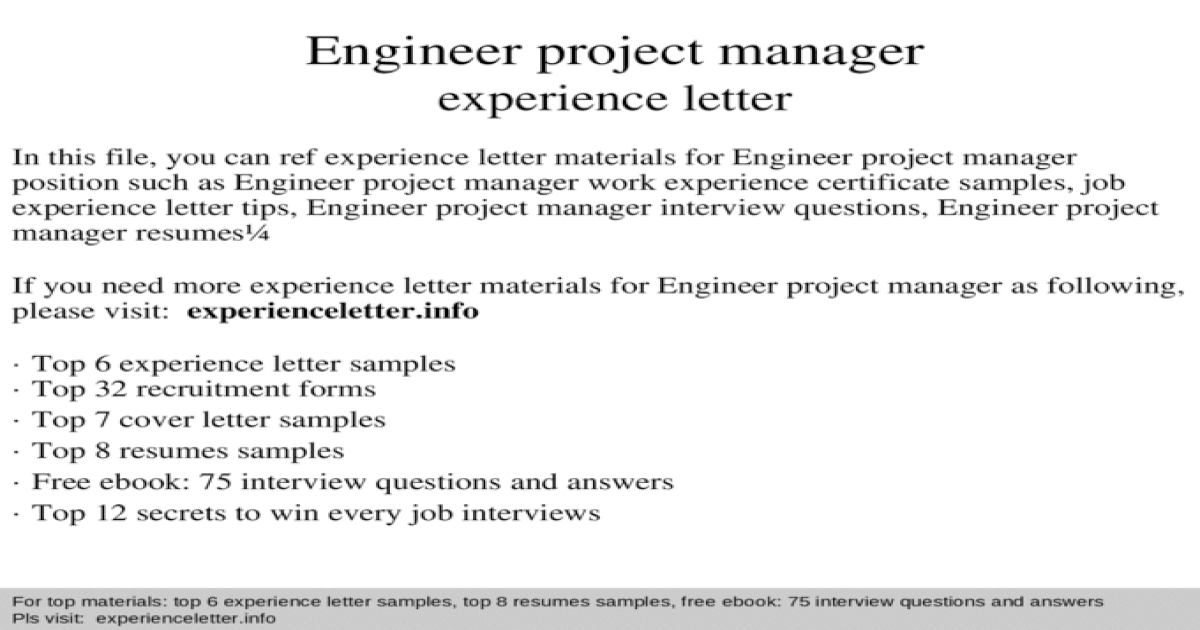 Engineer project manager experience letter