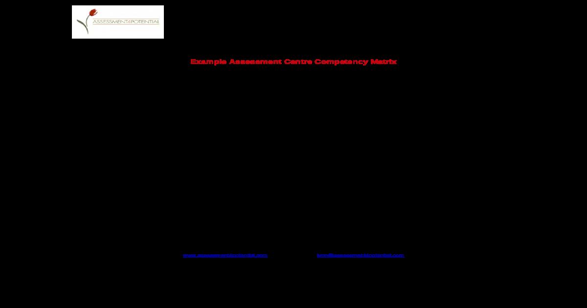 Assessment centre score sheet