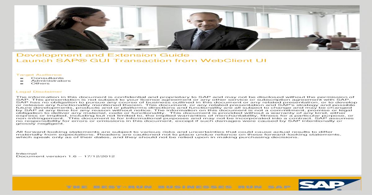 Launch SAP GUI Transaction from WebClient UI