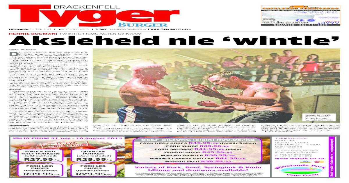 Tygerburger brackenfell 31 julie 2013