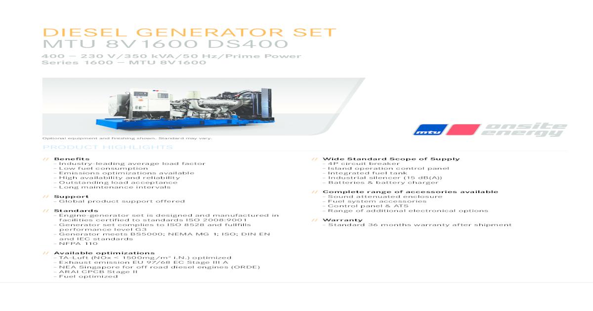 DIESEL GENERATOR SET MTU 8V1600 DS400