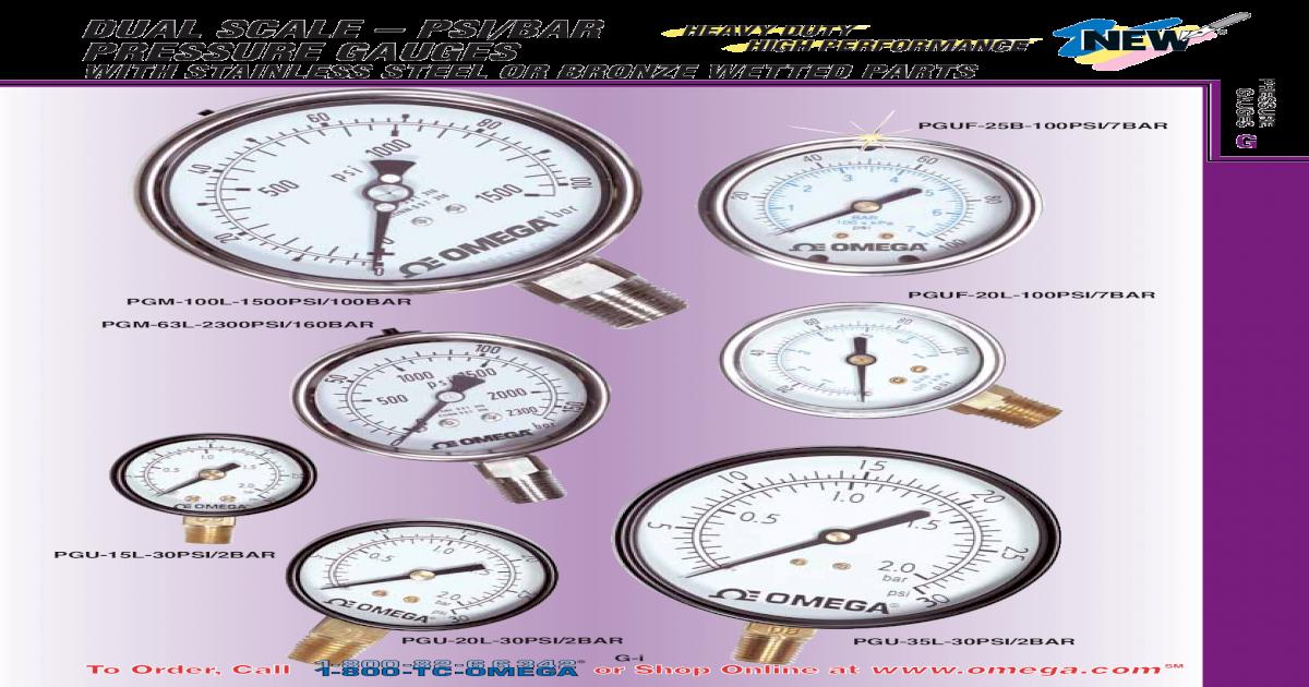 Pressure Gauges Catalogue