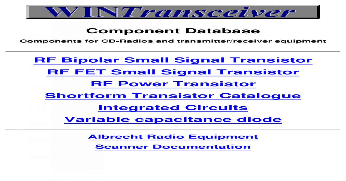 Components database for cb radios and transmitterreceiver
