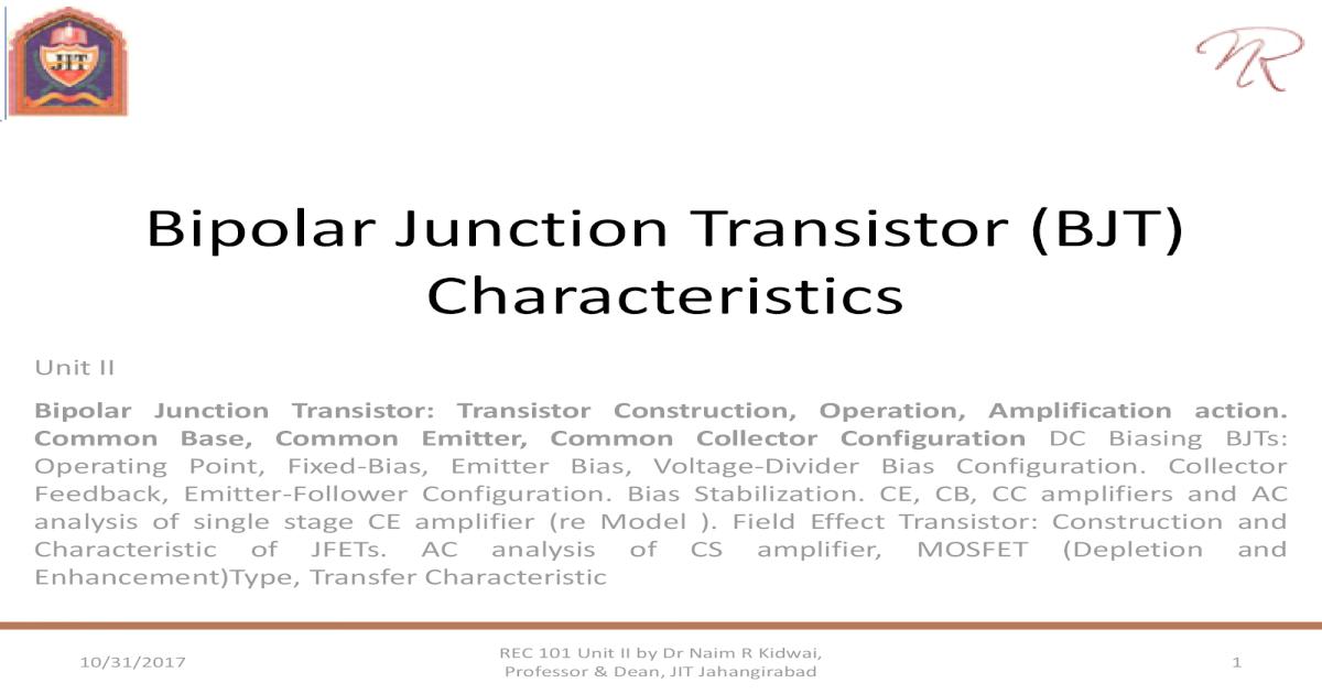 Rec101 unit ii (part 1) bjt characteristics