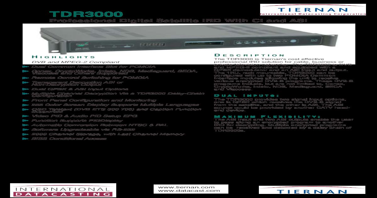IDC Tiernan TDR 3000 receiver brochure