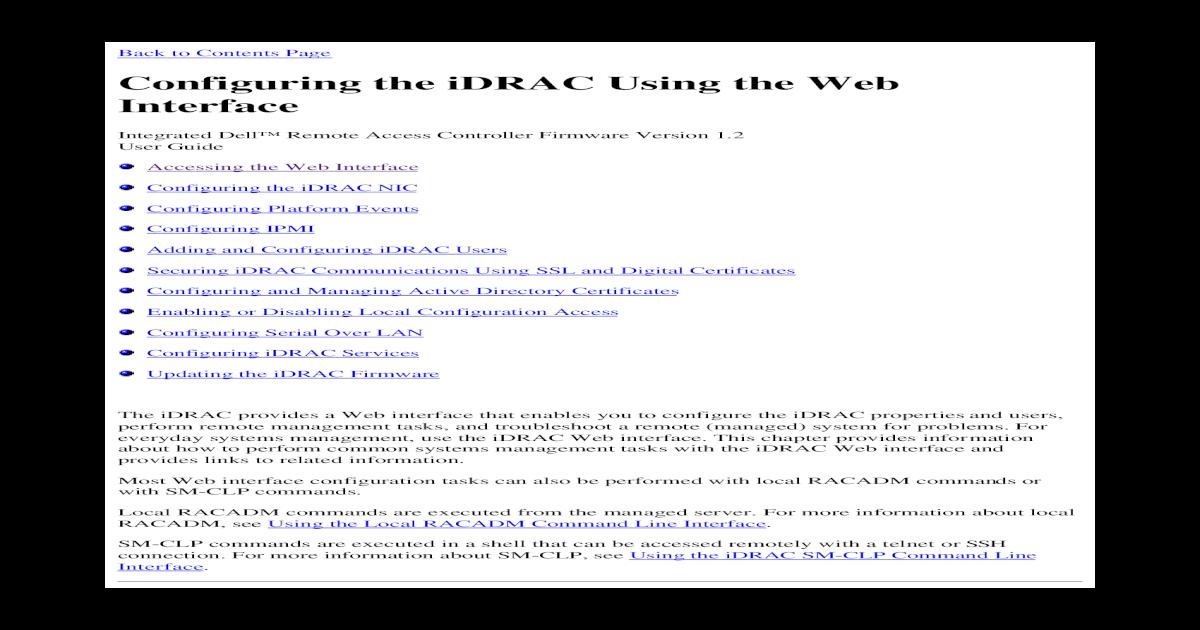 Configuring the iDRAC Using the Web Interface